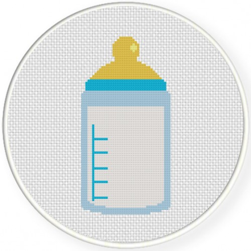 Baby Bottle Cross Stitch Illustration