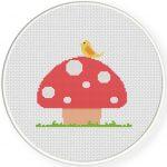 Bird And Mushroom Cross Stitch Illustration
