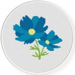 Blue Cosmos Cross Stitch Illustration