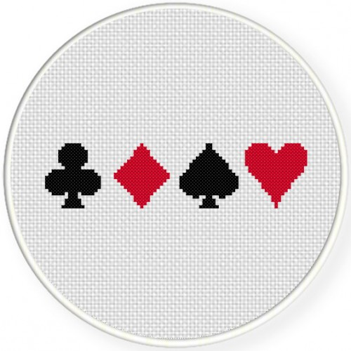 Card Suits Cross Stitch Illustration