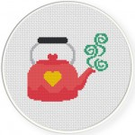 Cute Pink Kettle Cross Stitch Illustration