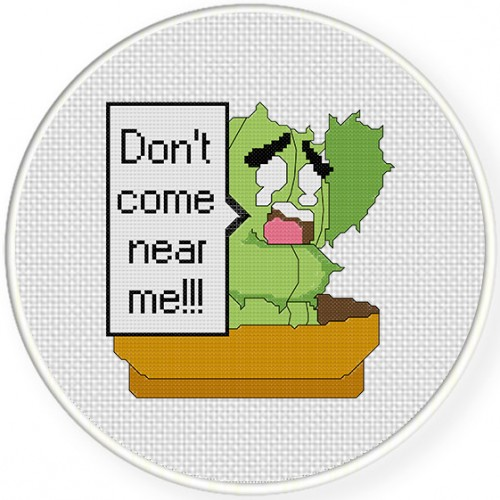 Dont Come Near Me Cross Stitch Illustration