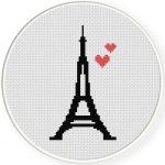 Eiffel Tower Love Cross Stitch Illustration
