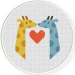 Giraffes In Love Cross Stitch Illustration