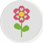 Hearty Flower Cross Stitch Illustration