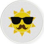 Hippie Sun Cross Stitch Illustration