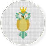 King Owl Cross Stitch Illustration