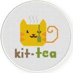 Kit-Tea Cross Stitch Illustration