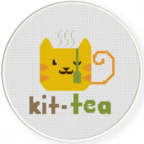 Kit-Tea Cross Stitch Illustration