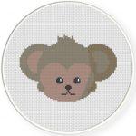 Monkey Head Cross Stitch Illustration