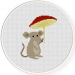 Mushroom Mouse Cross Stitch Illustration