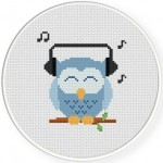 Music Lover Owl Cross Stitch Illustration