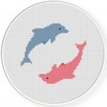 Playful Dolphins Cross Stitch Illustration