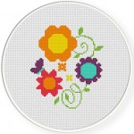Pretty Vines and Flowers Cross Stitch Illustration