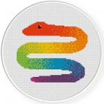 Rainbow Snake Cross Stitch Illustration