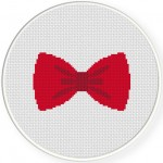 Red Bow Tie Cross Stitch Illustration