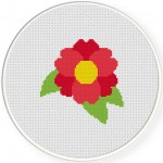 Red Flower Cross Stitch Illustration