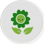 Smiling Green Flower Cross Stitch Illustration