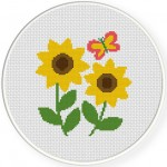 Sunflowers Cross Stitch Illustration