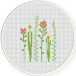 Tall Flowers Cross Stitch Illustration