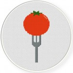 Tomato Fork Cross Stitch Illustration