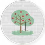 Tree with Fruits Cross Stitch Illustration