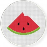 Watermelon Bite Cross Stitch Illustration