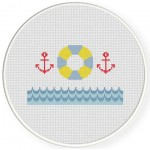 Anchor And Floaties Cross Stitch Illustration