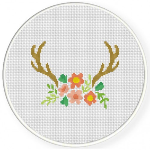 Antler Floral Cross Stitch Illustration