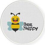 Bee Happy Cross Stitch Illustration