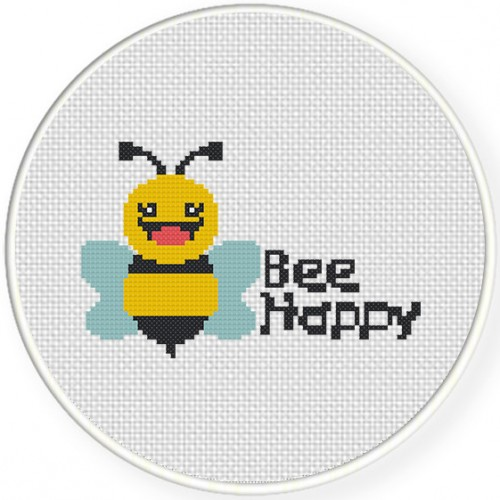 Bee Happy Cross Stitch Illustration
