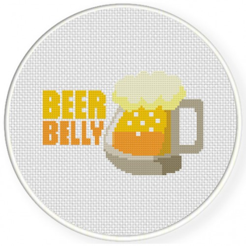 Beer Belly Cross Stitch Illustration