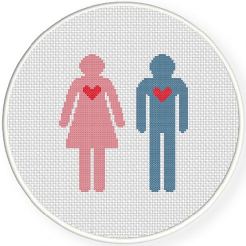 Boy And Girl Cross Stitch Illustration