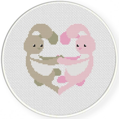 Bunny Love Cross Stitch Illustration