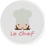 Chef Love Female Cross Stitch Illustration