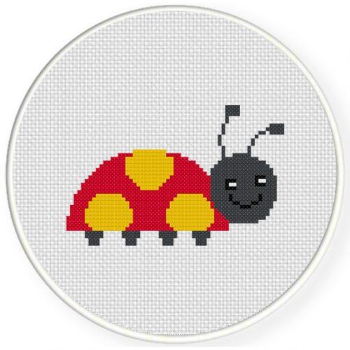 Cute Lady Bug Cross Stitch Illustration