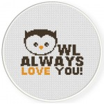 Cute Owl Always Love You Cross Stitch Illustration