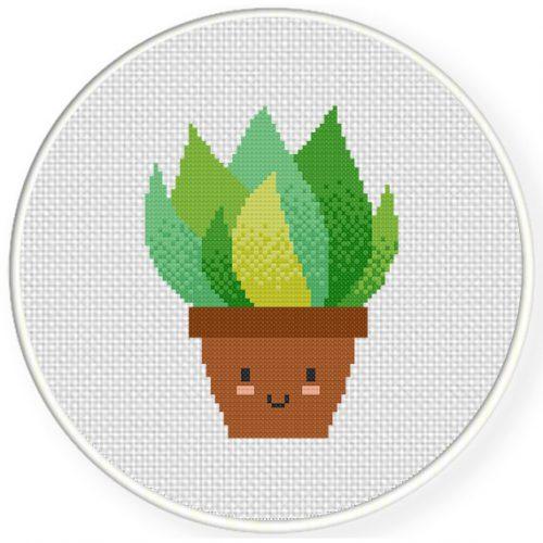 Cute Potted Plant Cross Stitch Illustration