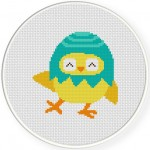 Egg Shell Chick Cross Stitch Illustration