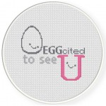 Eggcited To See U Cross Stitch Illustration