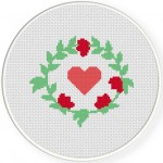 Flower Wreath Cross Stitch Illustration