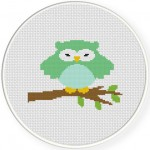Green Owl Cross Stitch Illustration