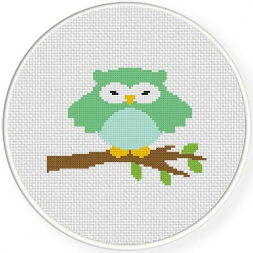 Green Owl Cross Stitch Illustration