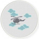 Helicopter In The Sky Cross Stitch Illustration
