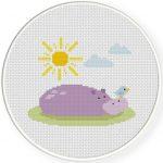 Hippo in the Sun Cross Stitch Illustration