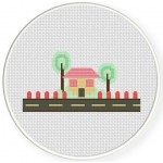 House And Tree Cross Stitch Illustration