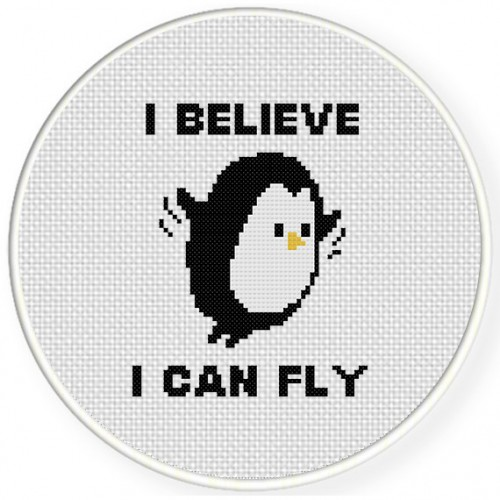 I Believe I Can Fly Cross Stitch Illustration