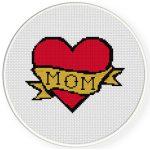 I Love Mom Cross Stitch Illustration