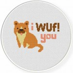 I WUF You! Cross Stitch Illustration