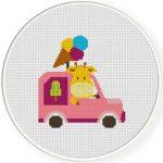 Ice Cream Truck Cross Stitch Illustration